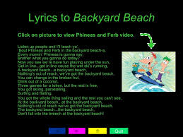 Verbs With Phineas And FerbPhineas And Ferb Backyard Beach Lyrics