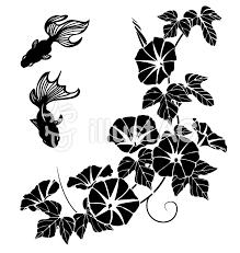 金魚とあさがお切り絵風透過アリイラスト No 1489005無料イラスト