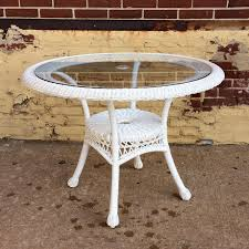 round white wicker picnic table