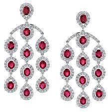ruby diamond gold chandelier earrings
