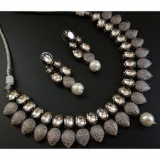 black metal jewellery.  Metal Designer Black Metal U0026 Stone Semi Precious Gold Plated Antique Necklace  With Earring Jewellery In