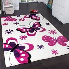 Rug For Kids Girls Nursery Rug Butterfly White Pink Purple Baby