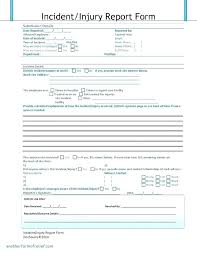 Incident Report Template Employee Police Generic Lab Form Injury