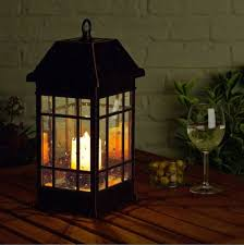 solar led mission lantern handheld lamp candle light dinner outdoor patio table