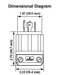 leviton 2711 30 amp, 125 250 volt, nema l14 30p, 3p, 4w, locking 30 Amp RV Plug Adapter dimensional drawing � wiring diagram