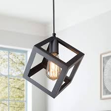 Black Pendant Lights Over Island Lnc A01974 Pendant Lighting For Kitchen Island Modern Square Hanging Fixture With Black Oil Finish