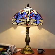tiffany dragonfly lamp stained glass alloy fixture style lighting for