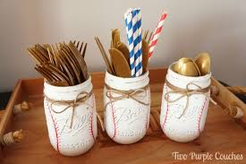 Decorating With Mason Jars For Baby Shower DIY Painted Baseball Mason Jars two purple couches 90