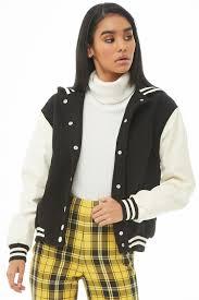 women s hooded faux leather sleeve varsity jacket black cream forever 21