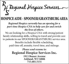 Hospice Aide Regional Hospice Services Spooner Wi
