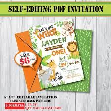 Safari Party Invitations Self Editing Safari Birthday Invitation Safari Party Invite Safari