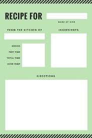 green and black stripes recipe card