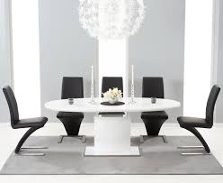 mark harris seville white high gloss erfly extending dining table and 6 hereford black chairs