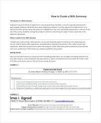 Best Resume Summary Examples Printable Resume Skills Summary Example