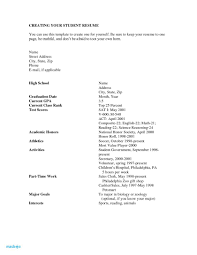 Job Resume Template Examples Of Resumes For High School Students