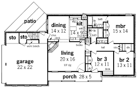 floor plan of a one story house. Plain Plan Simple One Story House Plans Floor Plan Enlarge 67290 With Of A O