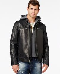 225 new guess men s black faux leather moto hooded jacket winter coat size s