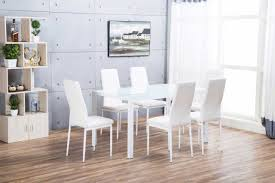 designer rectangle white dining table chairs set furniturebox modern gl metal and six faux leather more