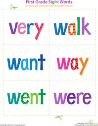 1st Grade Flash Cards Printable 1st Grade Sight Word Flashcards Education Com