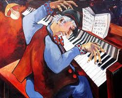piano painting piano man by rae andrews