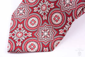 Tie Patterns Stunning Ancient Madder Silk Tie In Red With Large Buff Black Pattern Fort