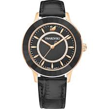 octea lux watch leather strap black rose gold tone pvd swarovski