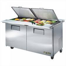 refrigerator table. true tssu-60-24m-b-ds-st two-door dual-sided sandwich prep table refrigerator a