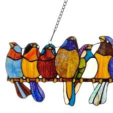 stained glass birds colorful stained art glass birds on wire window panel display home decoration easy