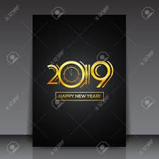 New Year Flyers Template Happy New Year 2019 Greeting Card Or Flyer Template Design