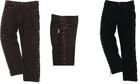 laced motorcycle leather pants mens black brown