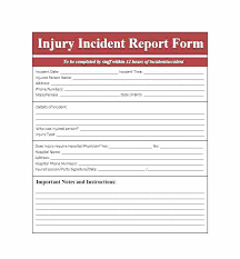 Accident Log Template Bar Incident Report Book Sample Printable Form
