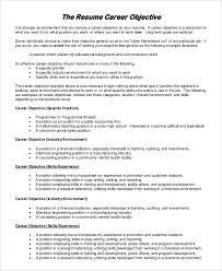 Job Objectives On Resume Career Objectives For Resumes musiccityspiritsandcocktail 44