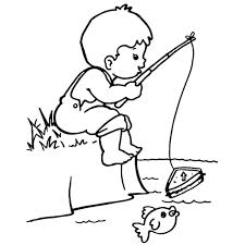 Disegno Di Bambino A Pesca Da Colorare Per Bambini