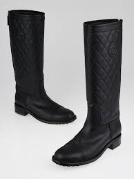 chanel quilted boots. chanel black quilted calfskin leather knee high boots size 9.5/40 k