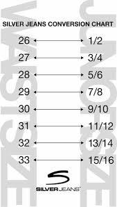 jean size converter silver jeans size chart