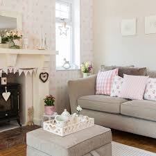 fashionable country living room furniture. Country Living Room With Pretty Pink Prints Fashionable Furniture T