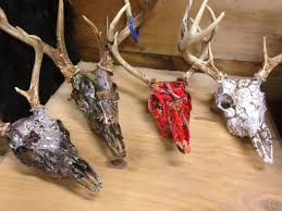 whitetail skulls hydro dipped in numerous camo patterns i love the white it still looks like a skull just with branches leaves ect over it