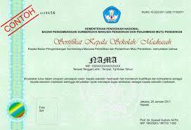 Sertifikat Pelatihan Contoh Sertifikat Kepala Sekolah Madrasah Dan Penjelasan