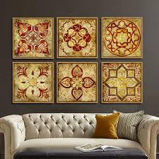 Small Picture 4 piece canvas art Moroccan style Gold national decoration pattern