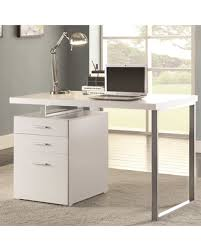 home office drawers. Modern Design Home Office White Writing/ Computer Desk With Drawers And File Cabinet (White