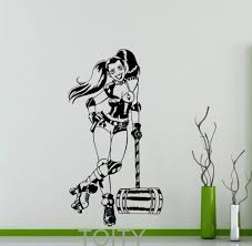 harley quinn wall decal roller derby dc marvel comics superhero vinyl sticker home interior decor teen room cool art mural in wall stickers from home  on marvel comics mural wall graphic with harley quinn wall decal roller derby dc marvel comics superhero