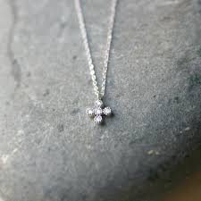 small cross necklace white gold cross pendant