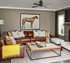 Mustard Living Room Mustard Leather Sectional Sofa Living Room Transitional With