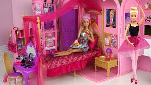 barbie pink bedroom bath morning routine princess doll dancing