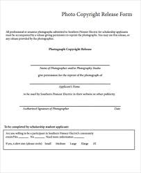 Copyright Release Form Template Photo Release Form Sample General ...