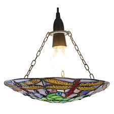 traditional multi coloured dragonfly tiffany glass pendant shade happy homewares