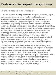 Top 8 Proposal Manager Resume Samples
