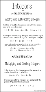 Integers Chart Integers Chart Or Bookmark Cynces Place