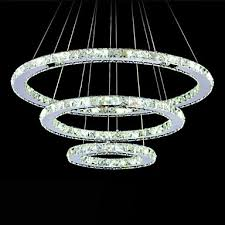 lighting ceiling lights pendant lights dimmable led pendant light modern remote control crystal chandelier lamp fixtures with 3 ring d705030 ce ul