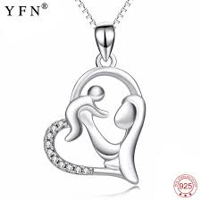 the ping 925 sterling silver necklace mom hold child pendants necklaces fine jewelry for women mothers